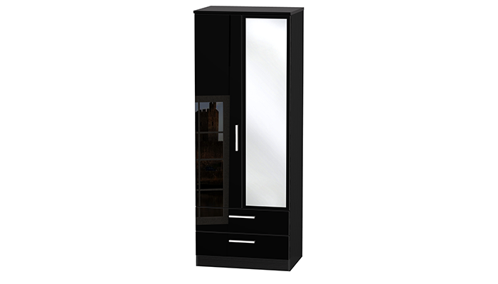 TALL 2ft6in 2 DRAWER MIRROR ROBE